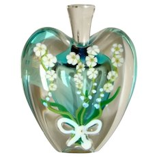 1995 ZELLIQUE STUDIO Art Glass Heart Shape Perfume Bottle