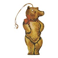 Antique CHRISTMAS Gift Package Tag Card, Teddy Bear