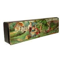 Antique German Paper Mache PENCIL BOX