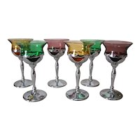 6 Vintage Art Deco FARBERWARE Chrome Goblets, CAMBRIDGE Glass Inserts