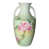 Vintage R&S GERMANY Pink Roses Porcelain VASE