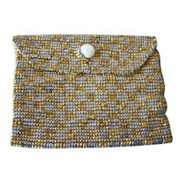 1920s Flapper Micro BEADED Metallic Miniature BAG, Compact or Coin