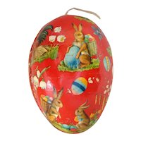 Old GERMAN Paper Mache Rabbit EASTER EGG Candy Container