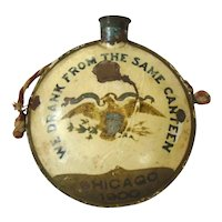 "Antique GAR Painted Tin Canteen ""We Drank From The Same Canteen"", CHICAGO 1900"