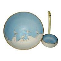 Vintage Hand Painted Mitsu-Boshi NIPPON Blue, White Cranes Sauce Bowl & Ladle*