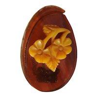Vintage Carved BAKELITE Oval Floral Fur Clip