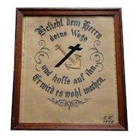 1879 Beaded Paper Sampler PUNCHWORK GERMAN, Psalm 37:5*