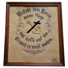 1879 Beaded Paper Sampler PUNCHWORK GERMAN, Psalm 37:5*
