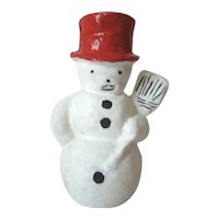 Vintage CHRISTMAS Paper Mache Snowman w/Broom Candy Container