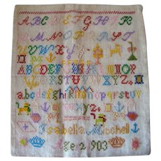 Antique Embroidered Linen School Girl ALPHABET Sampler, 1903