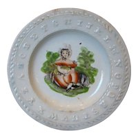 19thc. Children's Hand Painted STAFFORDSHIRE ABC Pearlware Plate