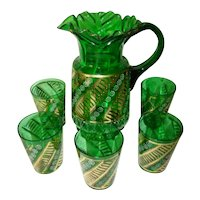 Antique Victorian Ruffled EMERALD GLASS Enamel Painted Pitcher & 5 Tumblers