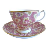 Lovely Royal Albert Teacup & Saucer 'Vintage Florals Grape' Chintz Pattern