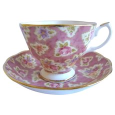 Lovely Royal Albert Teacup & Saucer 'Vintage Florals Grape' Chintz Pattern