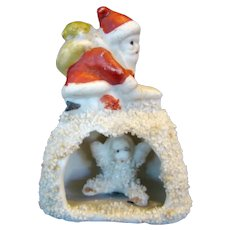 1930s Bisque CHRISTMAS Snow Baby Snowbaby Decoration, SANTA on Igloo