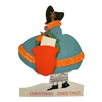 1930s Diecut CHRISTMAS Greetings Fold-Out Insert Card, Place Marker