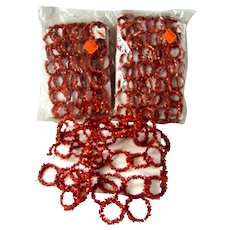 3 Vintage CHRISTMAS Red TINSEL Pipe Cleaner Rings Garland, Original Packages