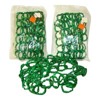 3 Vintage CHRISTMAS Green TINSEL Pipe Cleaner Rings Garland, Original Packages
