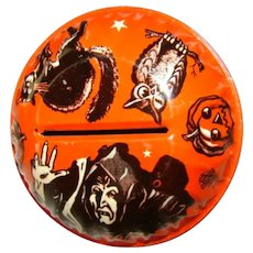 Vintage HALLOWEEN Witch Ball Shaker Noisemaker US Metal Toy