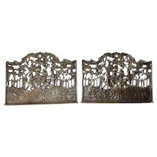 Antique Pierced Silverplate Metal 4 CHERUB & Goat Desk Panel Bookends ELKINGTON