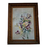 Antique Aesthetic Framed OIL PAINTING on Canvas, Pansy Wild Flower Bouquet