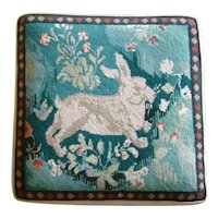 Charming Vintage Large EMBROIDERED NEEDLEPOINT Bunny Rabbit Seat Cushion