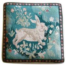 Charming Vintage Large EMBROIDERED NEEDLEPOINT Bunny Rabbit Seat Cushion