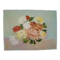 Charming Vintage OIL PAINTING on Canvas Board, Chrysanthemum Flowers