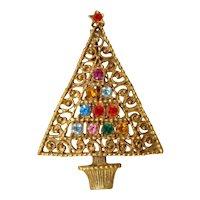 Mid-Century Modern Multi-Colored Rhinestone CHRISTMAS TREE Pin