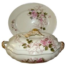 Antique LIMOGES G.D. & C. Painted Tureen & Underplate, Pink Trailing Florals