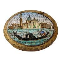 Antique MICRO MOSAIC Grand Tour Patch Snuff Box, Gondola, Venice, ITALY