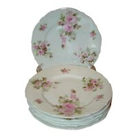 "6 Lovely Vintage PINK ROSES Floral 7-1/3"" Side Plates, C.T. Carl Tielsch GERMANY"