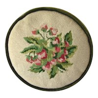 Lovely Vintage MOSS GREEN & Pink Rose Floral Round Needlepoint PILLOW