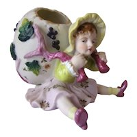 Vintage ARDALT Painted Girl w/Egg Basket PORCELAIN BISQUE Easter Figurine