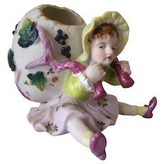 Vintage ARDALT Painted Girl w/Egg Basket PORCELAIN BISQUE Easter Figurine