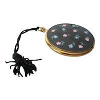 Vintage VOLUPTE Black Enamel Floral Powder POCKET WATCH Compact & Case