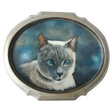 Vintage Framed Oil Painting On Canvas, LILAC SIAMESE CAT, Signed Lew Davis