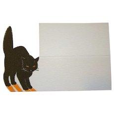 Vintage 1920s HALLOWEEN Black Cat NORCROSS Place Marker Card, Unused