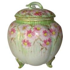 Vintage Hand Painted Porcelain BISCUIT JAR Pink & Green Enamel ROSES