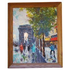 Mid-Century Impressionist Oil Painting on Canvas, French Arch de Triomphe, A. BRASSO