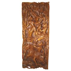 Vintage Ornately Carved BALI Wood Sculpture 3-D Relief Hindu Gods RAMA & SITA