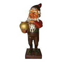Vintage PETITE CHOSES Painted Christmas Candleholder Gnome Santa DOORSTOP