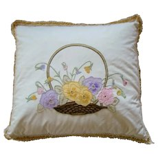 Lovely 1930s DOWN FILLED Embroidered Basket of Pansy FLOWERS Pillow