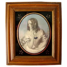 Antique Victorian Hand Tinted Lovely Woman Print, Reverse Painted Frame