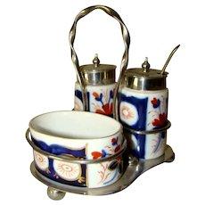 Antique IMARI Mustard Pot, Pepper, Open Salt Set, EPNS Silverplate, England