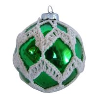 Vintage Christmas Tree GREEN Mercury Glass Ornament, Covered In CROCHET LACE