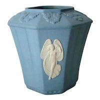 Vintage WEDGWOOD Blue Octagonal JASPERWARE Posy Pot VASE 7966, Orig. Box England