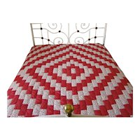 Vintage 1960s LOG CABIN Zig Zag Variation Red Cotton & Calico QUILT