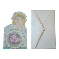 UNUSED 1920s GIBSONS Small Diecut Wedding Gift Card, Flapper Bride, w/Envelope