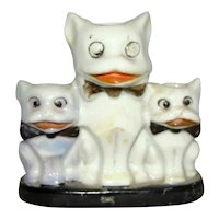 Vintage Trio of Luster China Bisque BULLDOGS Wearing Bow Ties, Japan